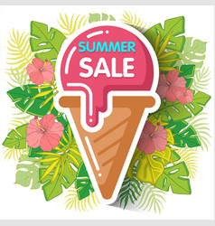 summer sale background with tropical palm leaves vector image