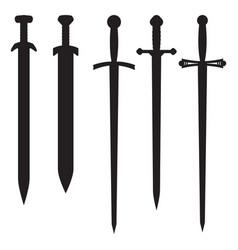swords set black icons vector image