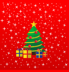 the christmas greeting card tree and presents vector image