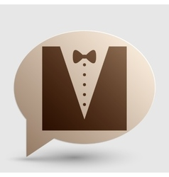 Tuxedo with bow silhouette Brown gradient icon on vector image