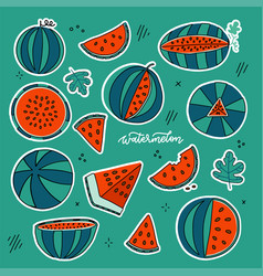 watermelon doodle hand drawn stickers set in vector image