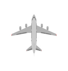 white passenger plane view from above flat vector image