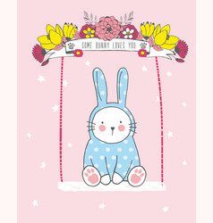 White rabbit baby boy ride on a swing vector