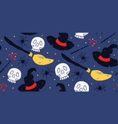 Witch seamless pattern school magic doodle vector