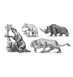 woolly rhinoceros cave lion ground sloth vector image