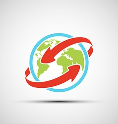 arrows around planet earth vector image vector image
