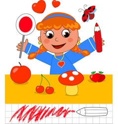Color game girl with red objects vector image