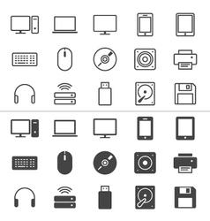 Computer icons thin vector image vector image