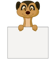 Cute meerkat cartoon holding blank sign vector image vector image