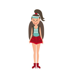 flat girl hiker with backpack vector image