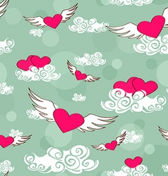 Seamless pattern of flying heats at the sky vector image