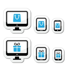 Shopping online internet shop icons set vector image vector image