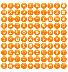 100 kids icons set orange vector image vector image