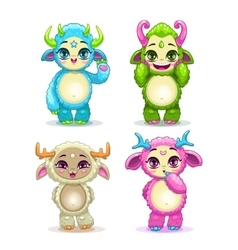 Funny cartoon fluffy baby monsters set vector image vector image