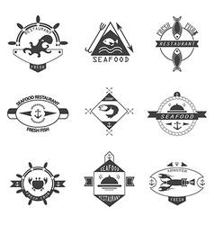 Set of seafood logos vector image