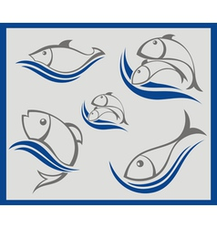 Signs with fish vector image vector image