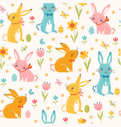 colorful easter bunnies pattern vector image vector image