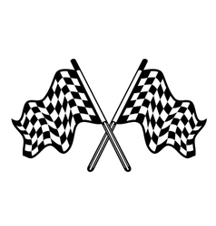 Crossed pair of waving checkered flags vector image vector image