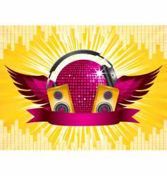 disco ball party shield vector image