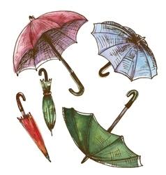 Drawing watercolor set of umbrellas vector image