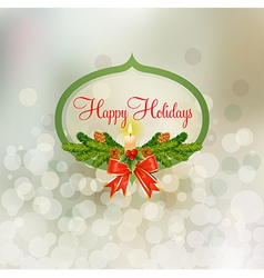 holiday badge with snowy background vector image vector image
