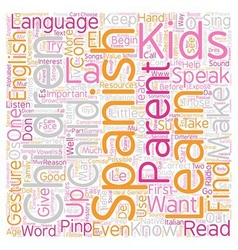 Kids Can Learn Spanish text background wordcloud vector image vector image