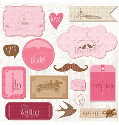 romantic wedding tags vector image vector image
