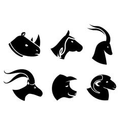 Set of black animal head icons vector image vector image