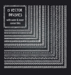 set of brushes with outer and inner corner vector image vector image