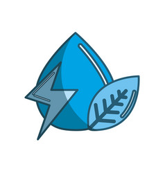 blue drop of water with energy sign and leaf vector image