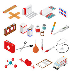 medical color icons isometric view vector image