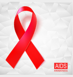 realistic red ribbon on white vector image vector image