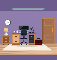 room work desk chair computer table lamp clock vector image