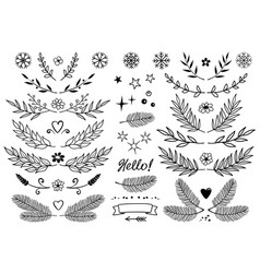 Set of branches snowflakes flowers design vector