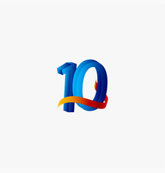 10 years anniversary celebration number blue vector
