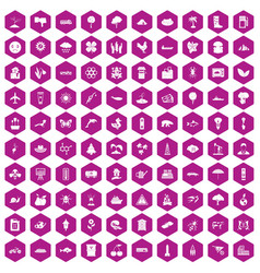 100 global warming icons hexagon violet vector