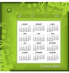 2010 floral green calendar vector image