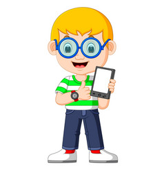 a boy using a tablet vector image
