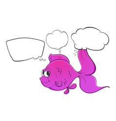 A pink fish with empty thoughts vector image