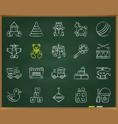 baby toy chalk draw line icons set vector image