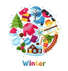 Background with winter objects Merry Christmas vector image