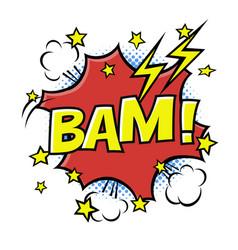 Bam phrase in speech bubble comic text bubble vector