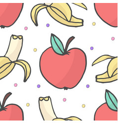 banana and apple seamless pattern vector image