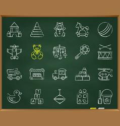 Batoy chalk draw line icons set vector