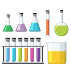 Beakers with colorful liquid vector