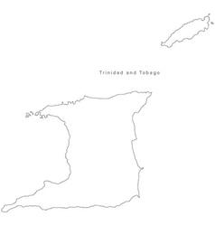 Black White Trinidad and Tobago Outline Map vector image vector image