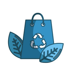 Blue bag with recycling symbol and leaves vector