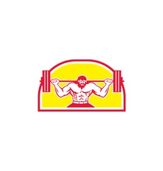 Bodybuilder Lifting Barbell Retro vector image