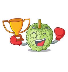 Boxing winner ripe sugar apple fruit on mascot vector