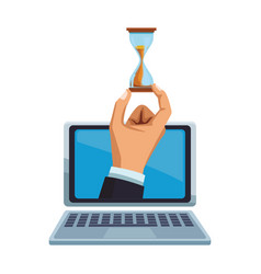 Businessman hand with hourglass on laptop screen vector